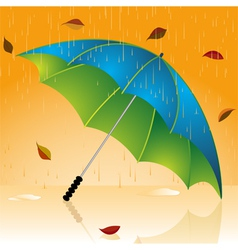 Rain and autumn leaves vector