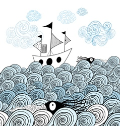 Ship and sea waves vector