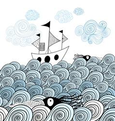 Ship and sea waves vector