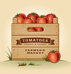 Retro crate of tomatoes vector