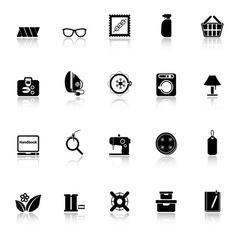 Sewing cloth related icons with reflect on white vector