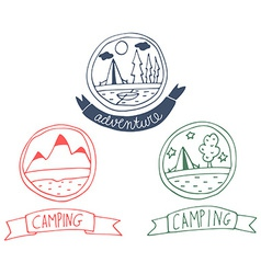 Set of doodle adventure badges vector