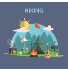 Hiking concept flat vector