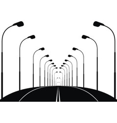 Night street road and lanterns vector