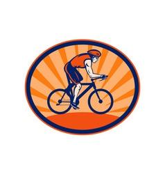 Triathlon athlete riding cycling bike vector