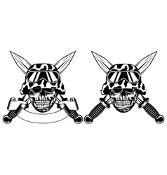 Skull in helmet and daggers vector