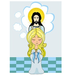 Cute little girl praying to jesus vector