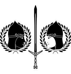 Slavonic warrior stencil vector