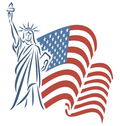 Statue of liberty and usa flag vector