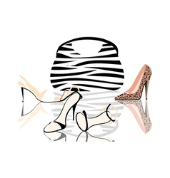 The bags and shoes vector