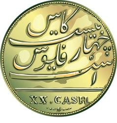 Money gold coin twenty madras caches vector
