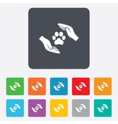 Protection of animals sign icon hands vector
