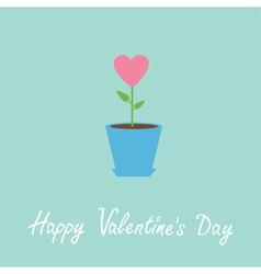 Heart flower in pot happy valentines day vector