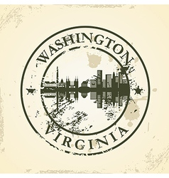 Grunge rubber stamp with washington virginia vector