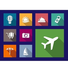Set of flat travel and vacation icons vector