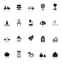 Vintage item icons with reflect on white vector