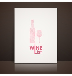Wine list design with a bottle and a wineglass vector