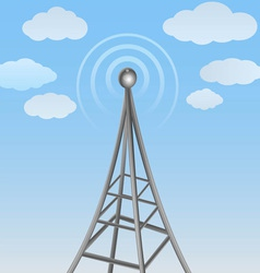 Communication antenna on cloudy background vector
