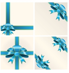 Blue bow with ribbons vector