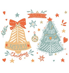 Sketchy elements set with a christmas tree and a vector