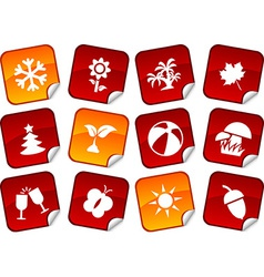 Seasons stickers vector