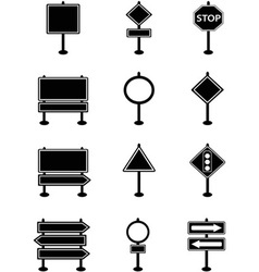 Simple traffic sign and road sign icons vector