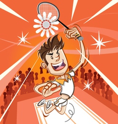 Male badminton player vector