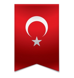 Ribbon banner - turkish flag vector