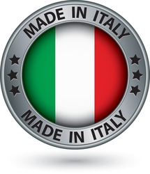 Made in italy silver label with flag vector