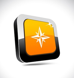 Compass 3d square button vector