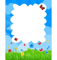 Grass on a meadow and the blue sky a vector