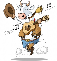 Guitar playing cow vector