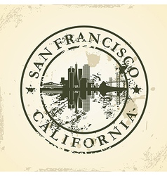 Grunge rubber stamp with san francisco california vector