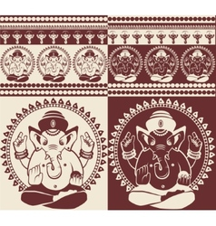 Indian god ganesha yoga pattern vector