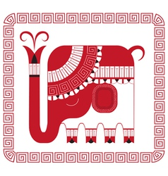 Indian elephant in decorative style vector