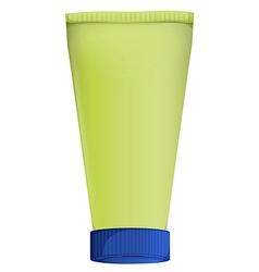 A green medicine tube with blue lid cover vector