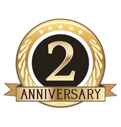 Two year anniversary badge vector