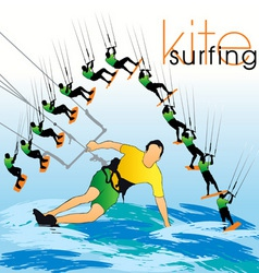Kite surf set vector
