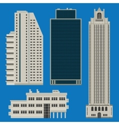 Buildings set with skyscrapers vector