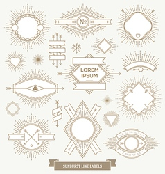 Set of line design emblem sign and hipster labels vector