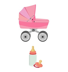 Pink baby carriage bottle and pacifier vector