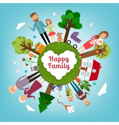 Happy family in all the earth vector
