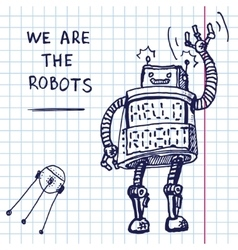 Hand draw robot on exersize book eps10 vector