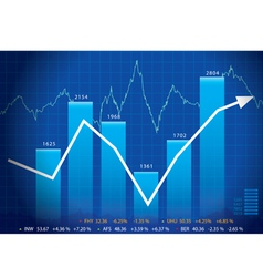 Business graph with arrow showing profits and gain vector