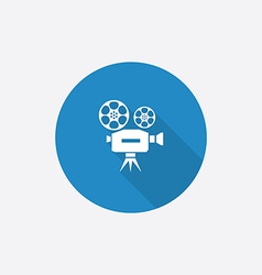Video flat blue simple icon with long shadow vector