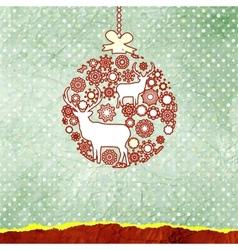 Christmas deer bauble card vector