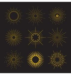 9 art deco vintage sunbursts collection with vector