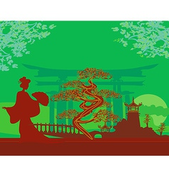 Abstract asian landscape and geisha vector