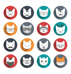 Stylized animal avatar set cats vector