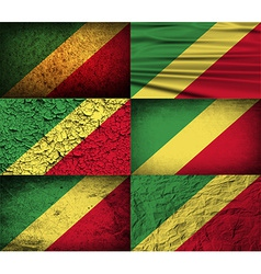 Flag of congo republic with old texture vector